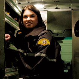 Anna Wilson '04 in the WSP Crime Scene Response Team van. <em>Staff photo</em>