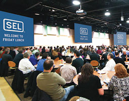 Employees in Pullman gather for Friday Lunch at SEL. <em>Courtesy Schweitzer Engineering Laboratories</em>