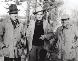 Edward R. Murrow pictured with brothers Lacey (left) and Dewey (right) at Quaker Hill in Pawling, New York, 1949. <em>Courtesy Digital Collections and Archives, Tufts University</em>