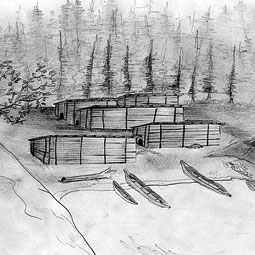 Drawing of the Dionisio Point village as it may have looked 1,500 years ago. <em>Illustration Neil Miller</em>