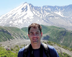 Mark Swanson in the Mount St. Helens blast zone. Photo Yasmeen Sands