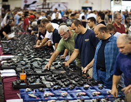 Handguns for sale at The Nation's Gun Show at the Dulles Expo Center near Washington, D.C. Jim Lo Scalzo/EPA.