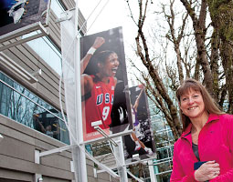 Marcia Steele Hoover '90 at Nike World Headquarters in Beaverton, Oregon. <em>Bill Wagner</em>