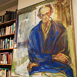 A portrait of Gabriel Fielding now looks over the Bundy Reading Room in Avery Hall. <em>Staff photo</em>