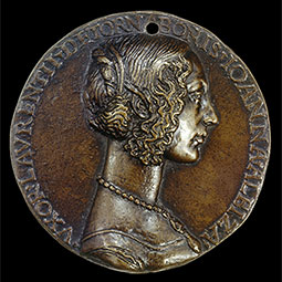 Bronze medal of Giovanna degli Albizzi, wife of Lorenzo Tornabuoni, c. 1486, attributed to Niccol&#242; Fiorentino. <em>Courtesy National Gallery of Art</em>