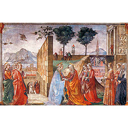 The Visitation depicts the Madonna meeting with her cousin Elizabeth, but at the far right you can see the fifteenth-century citizens of Florence including Giovanna degli Albizzi at the front of the group. <em>Courtesy Chiesa Santa Maria Novella</em>