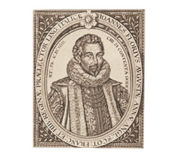 Engraving of John Florio by William Hole, 1611. <em>Courtesy British Museum</em>