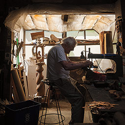 Balazs in his studio. <em>Photo Rajah Bose &#8217;02</em>