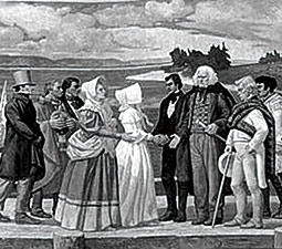 &#8220;John McLoughlin Greeting Marcus and Narcissa Whitman at Fort Vancouver,&#8221; mural detail in Oregon capitol rotunda by Barry Faulkner. <em>Courtesy Oregon Department of Transportation</em>