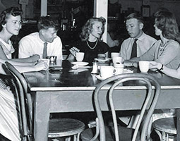 "Downing coffee in ""The Drain"" in the Temporary Union Building (TUB) c. 1952. Courtesy WSU Manuscripts, Archives, and Special Collections"