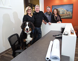 Sharon, Jeff, Michael, and Judi Clark at their combined architectural office and veterinary