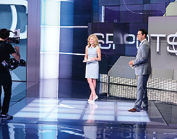 Jaymee Sire prepares to host SportsCenter with co-anchor Kevin Neghandi. <em>Courtesy Joe Faraoni/ESPN</em>