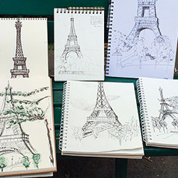 Sketches from WSU students capture the Eiffel Tower. <em>Photo Carrie Vielle</em>
