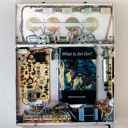 Assemblage by Anchorage artist Don Mohr constructed from an old Dictaphone, from an exhibition, <em>What is Art for?</em>