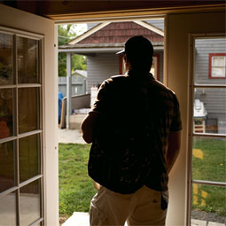 A student heads out the door of Stepping Stones Recovery House. The small home on : door stepping - Pezcame.Com