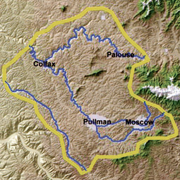 The working boundary for the Palouse water basin. Source: Palouse Basin Aquifer Committee