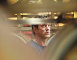 Drew Bledsoe inspects the Doubleback casks. Robert Hubner