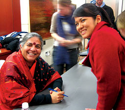 Vandana Shiva with Aika Nagamine '08 who was a peer mentor and events planner for the WSU International Center.
