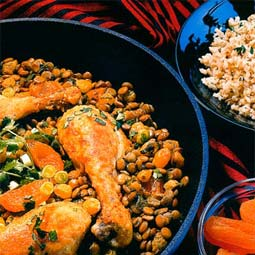 Chicken Marrakech with lentils. <em>from</em> The Pea &amp; Lentil Cookbook: From Everyday to Gourmet <em> published by the USA Dry Pea &amp; Lentil Council, Randall Duckworth, editor. Photos from the book, by Mark LaMoreaux.</em>