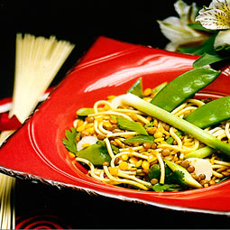 Chinese lentil and noodle salad. <em>from</em> The Pea &amp; Lentil Cookbook: From Everyday to Gourmet <em> published by the USA Dry Pea &amp; Lentil Council, Randall Duckworth, editor. Photos from the book, by Mark LaMoreaux.</em>