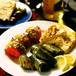 Grape leaves stuffed with lentils and dried fruits. <em>from</em> The Pea &amp; Lentil Cookbook: From Everyday to Gourmet <em> published by the USA Dry Pea &amp; Lentil Council, Randall Duckworth, editor. Photos from the book, by Mark LaMoreaux.</em>