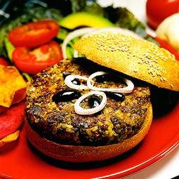 Bountiful burgers. <em>from</em> The Pea &amp; Lentil Cookbook: From Everyday to Gourmet <em> published by the USA Dry Pea &amp; Lentil Council, Randall Duckworth, editor. Photos from the book, by Mark LaMoreaux.</em>