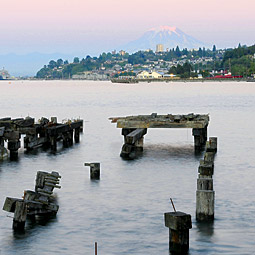 A view to the east shows Tacoma's Old Town neighborhood and Mount Rainier. Photo by Ingrid Barrentine.