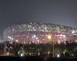 National Stadium, the track and field venue affectionately dubbed the Bird's Nest, on the Olympic Green in Beijing.