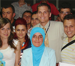 Steve Wymer with the University of Tirana Faculty of Arts and Sciences student sentators.