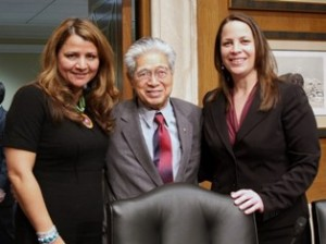 Loretta Tuell (left) with Sen. Akaka and outgoing Indian Affairs Committee director Allison Binney. Courtesy US Senate