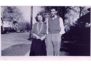 Wes McCabe '43 at WSU on a blind date with his future wife Dolly in 1943.