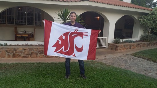 Bryan Verity '93 waves the flag in Malawi