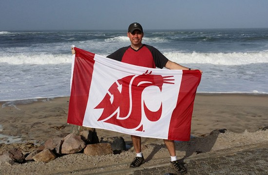 Bryan Verity with the flag in Namibia