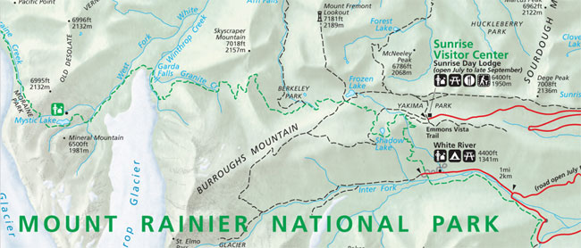 Map of Shadow Lake area at Mt. Rainier National Park