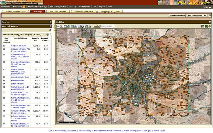 Map soils of washington state fall 2011 washington for Soil web survey