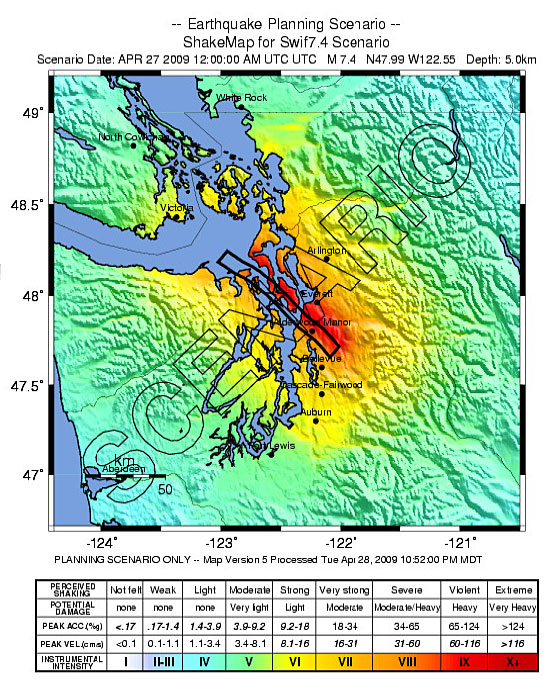 Earthquake planning scenario map