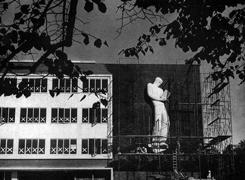 Nature Boy on Holland Library during construction. From the November 1949 WSC Powwow
